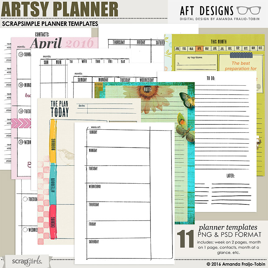 Arty Planner Essentials templates by AFT Designs  | www.scrapgirls.com #planner #plannercommunity