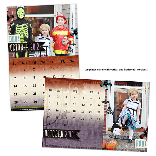 Vertical and Horizontal versions of these templates are included. Digital Scrapbooking Calendars by Amanda Fraijo-Tobin (see supply list with links below)