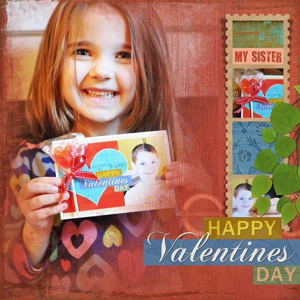 "Digital Scrapbooking Layout ""Happy Valentines Day"" by Amanda Fraijo-Tobin (see supply list with links below)"
