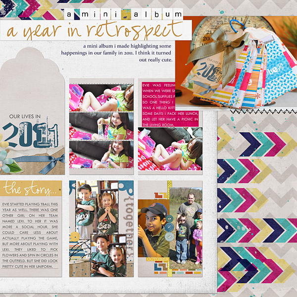 "Digital Scrapbooking Layout ""A Year In Retrospect"" by Amanda Fraijo-Tobin (see supply list with links below)"
