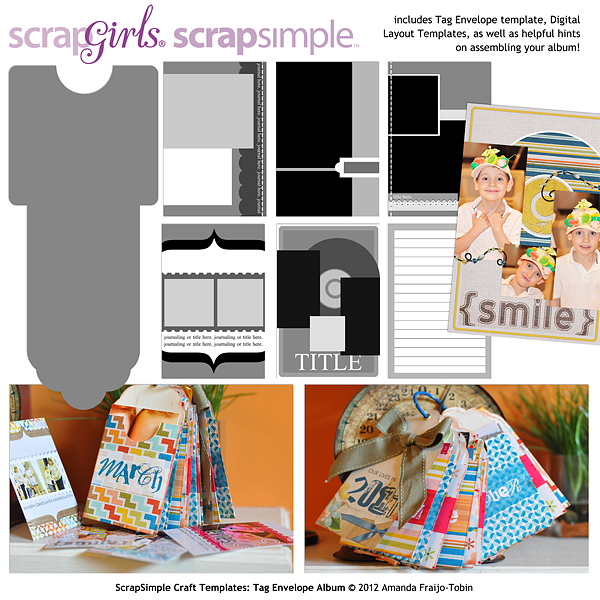 ScrapSimple Craft Templates: Tag Envelope Album