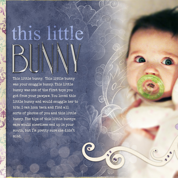 """Digital Scrapbooking Layout """"This Little Bunny"""" by Amanda Fraijo-Tobin (see supply list with links below)"""