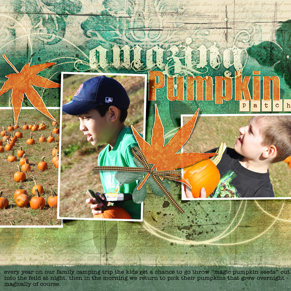 "Digital Scrapbooking Layout ""Amazing Pumpkin Patch"" by Amanda Fraijo-Tobin (see supply list with links below)"