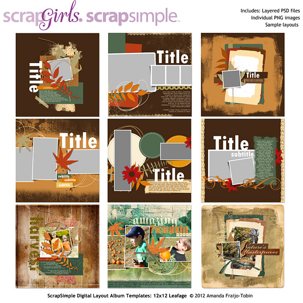 ScrapSimple Digital Layout Templates: 12x12 Leafage
