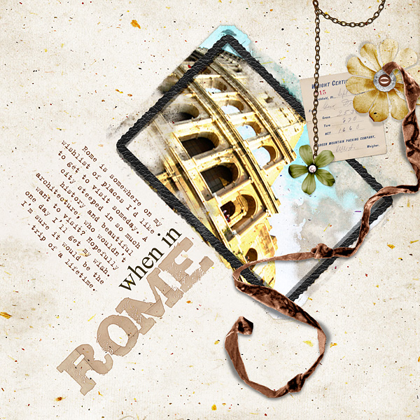 "Digital Scrapbooking Layout ""When In Rome"" by Amanda Fraijo-Tobin (see supply list with links below)"