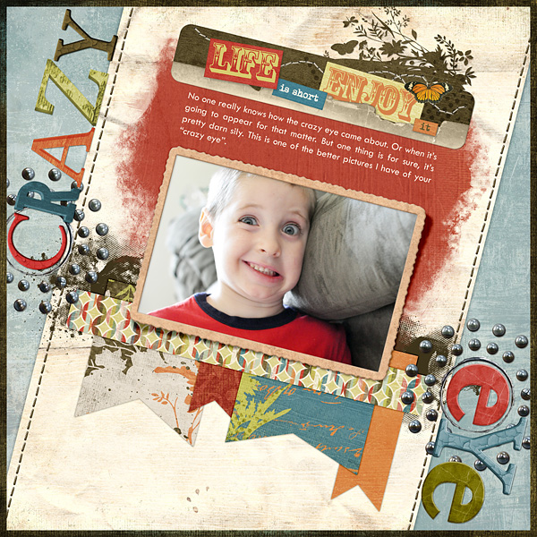 "Digital Scrapbooking Layout ""Crazy Eye"" by Amanda Fraijo-Tobin (see supply list with links below)"