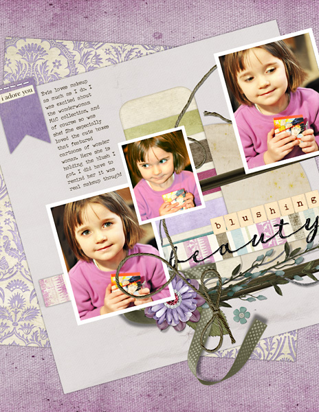 "Digital Scrapbooking Layout ""Blushing Beauty"" by Amanda Fraijo-Tobin (see supply list with links below)"