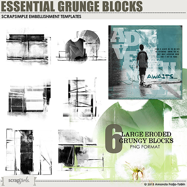 ScrapSimple Embellishment Templates: Essential Grunge Blocks