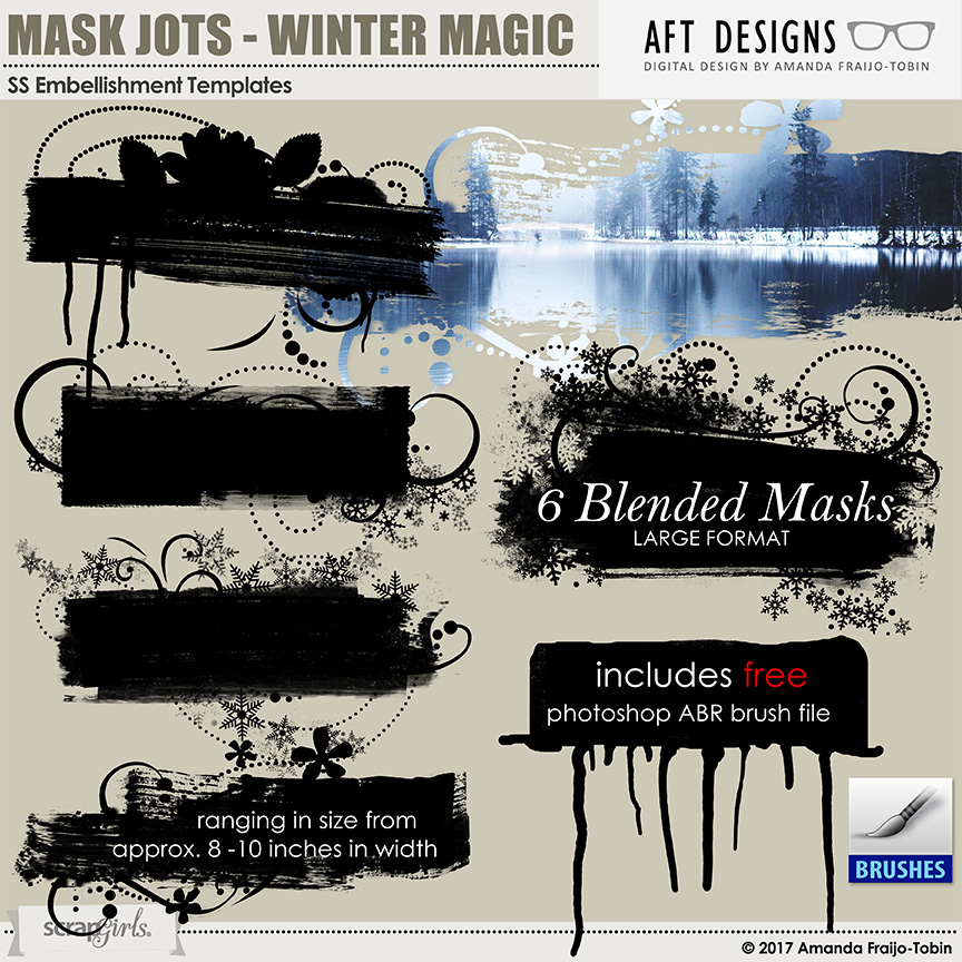 ScrapSimple Embellishment Templates: Mask Jots - Winter Magic #photoshop blenders with brush file by Amanda Fraijo-Tobin \ AFT Designs @Scrapgirls.com