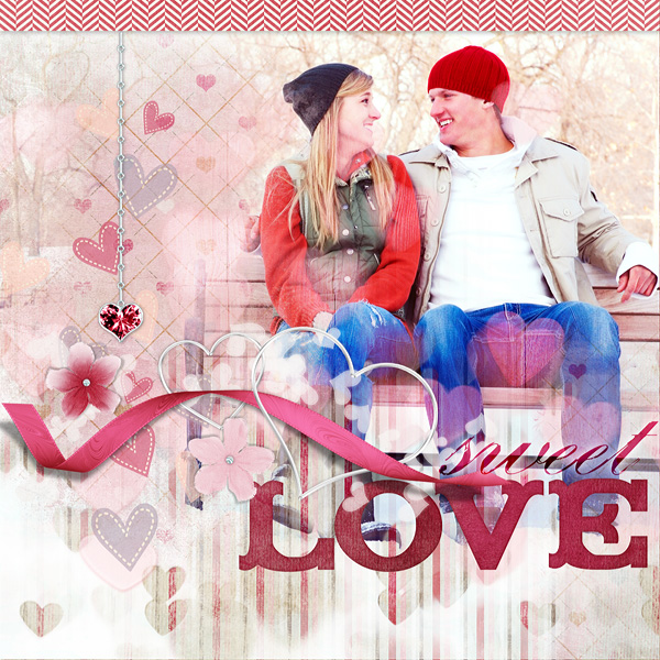 "Digital Scrapbooking Layout ""Sweet Love"" by Amanda Fraijo-Tobin (see supply list with links below)"