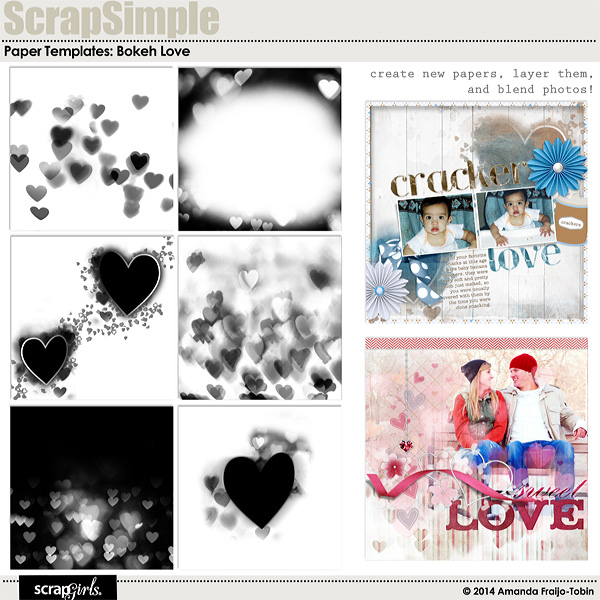 ScrapSimple Paper Templates: Bokeh Love