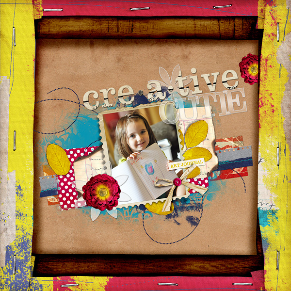 "Digital Scrapbooking Layout ""Creative Cutie"" by Amanda Fraijo-Tobin (see supply list with links below)"
