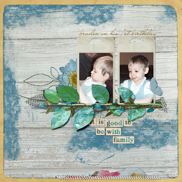 "Digital Scrapbooking Layout ""Braden's 1st Bday"" by Amanda Fraijo-Tobin (see supply list with links below)"