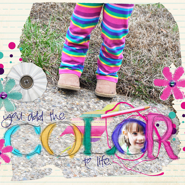 """""""Color"""" layout using Torn Paper Silhouette Templates"""