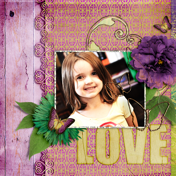 """""""Love"""" layout using Cut Out Layer Styles and coordinating Ornate Cut Out Paper Templates"""
