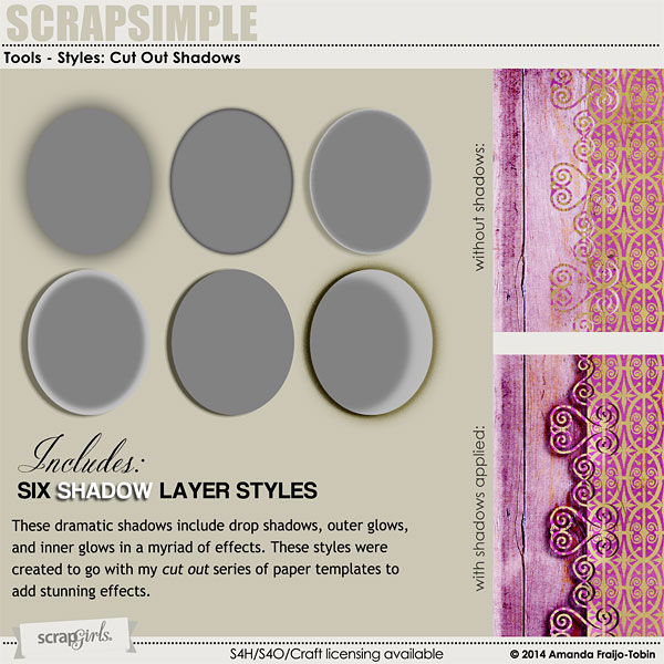 ScrapSimple Tools - Styles: Cut Out Shadows 6401
