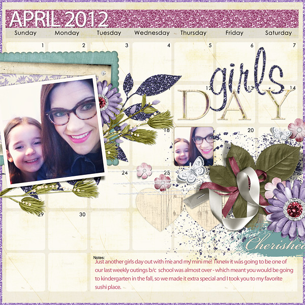 "Digital Scrapbooking Layout ""Girls Day"" by Amanda Fraijo-Tobin (see supply list with links below)"