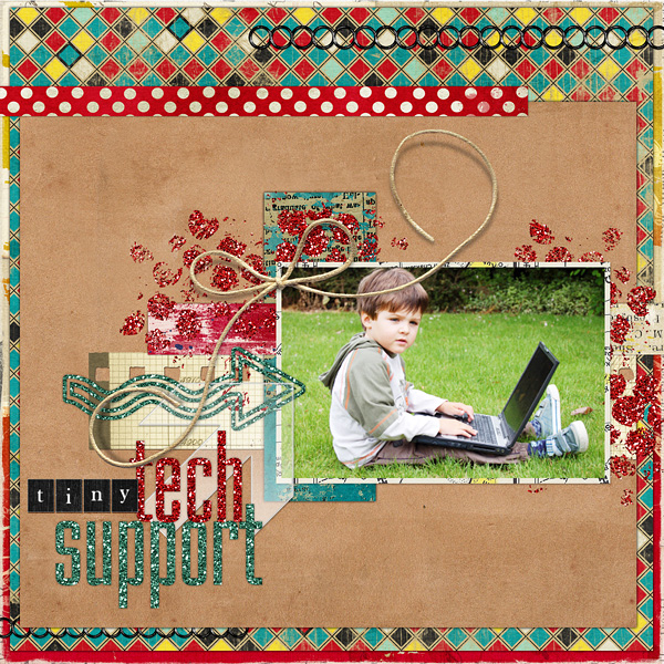 "Digital Scrapbooking Layout ""Tiny Tech Support"" by Amanda Fraijo-Tobin (see supply list with links below)"