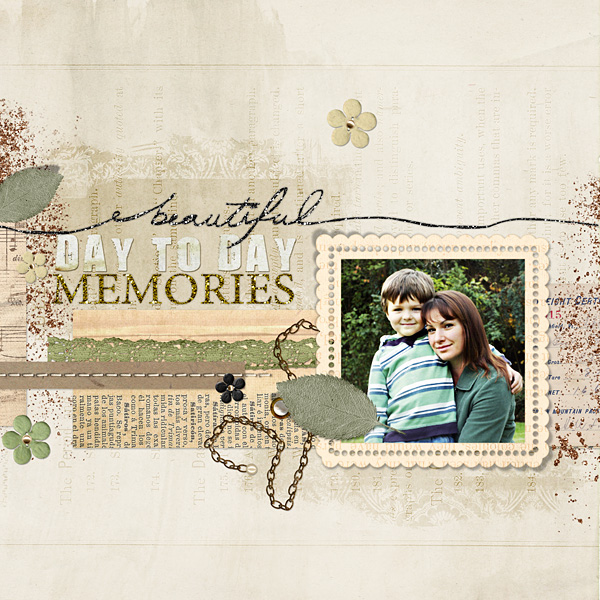 "Digital Scrapbooking Layout ""Beautiful Day to Day"" by Amanda Fraijo-Tobin (see supply list with links below)"