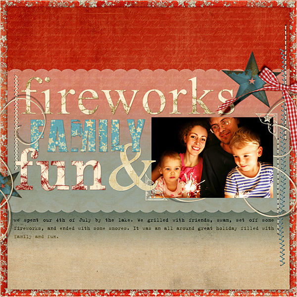 "Digital Scrapbooking Layout ""Fireworks, Family, & Fun"" by Amanda Fraijo-Tobin (see supply list with links below)"