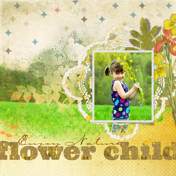 "Digital Scrapbooking Layout ""Flower Child"" by Amanda Fraijo-Tobin (see supply list with links below)"