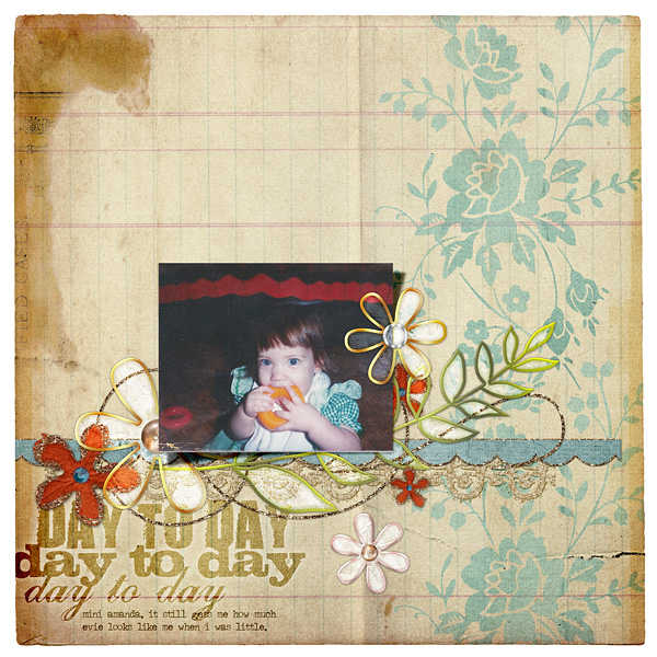 """Digital Scrapbooking Layout """"Day To Day"""" by Amanda Fraijo-Tobin (see supply list with links below)"""