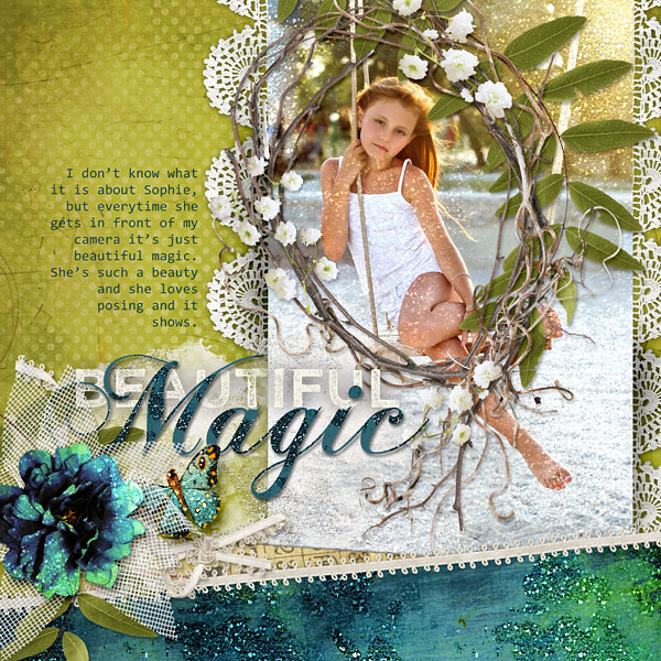 "Sugar Dusted Photoshop Styles used in ""Beautiful Magic"" digital scrapbooking layout by Amanda Fraijo-Tobin"