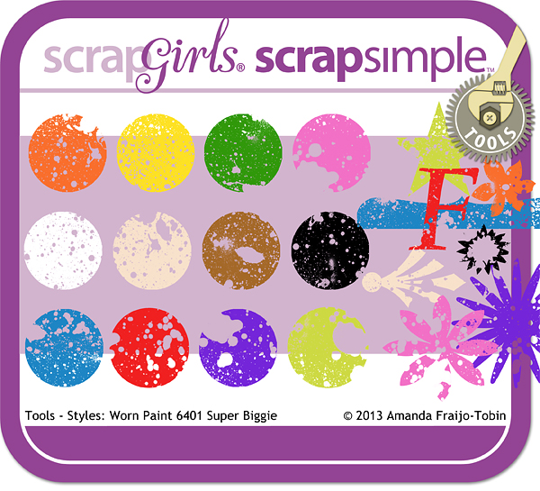 "Sold Separately <a href=""http://store.scrapgirls.com/scrapsimple-tools-styles-worn-paint-6401-super-biggie-p29109.php"">ScrapSimple Tools - Styles: Worn Paint 6401 Super Biggie</a>"