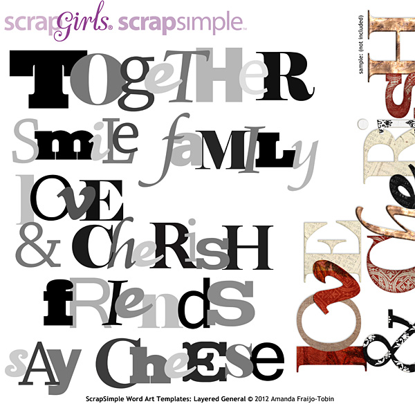 Sold Separately ScrapSimple Word Art Templates: Layered General  - Commercial License(link to product below)