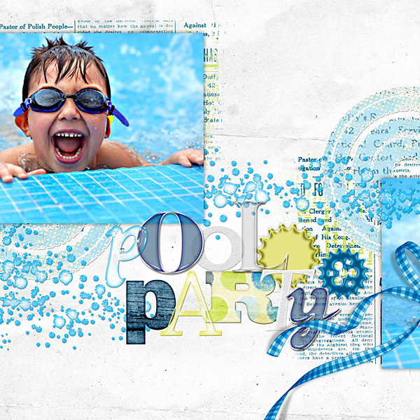 "Digital Scrapbooking Layout ""Pool Party"" by Amanda Fraijo-Tobin (see supply list with links below)"