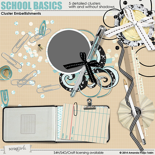 "Sold Seperately <a href=""http://store.scrapgirls.com/school-basics-cluster-embellishment-mini-p31259.php"">School Basics Cluster Embellishment Mini</a>"