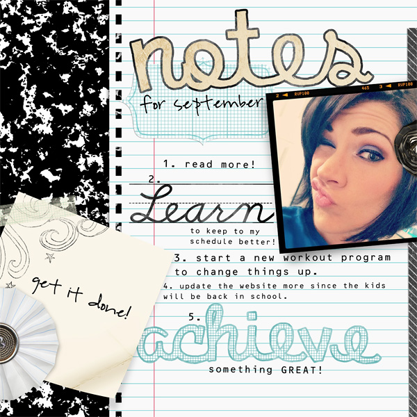 "Digital Scrapbooking Layout ""Notes"" by Amanda Fraijo-Tobin (see supply list with links below)"