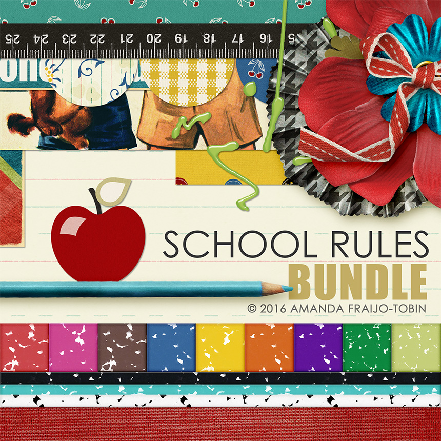 Digital Scrapbooking School Rules kit bundle by AFT Designs | ScrapGirls.com #digitalscrapbooking #scrapbook #printables #backtoschool