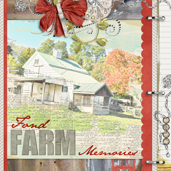 "Chains and siwrls featured in ""Fond Farm Memories"" layout included in Shiny Shabby Embellishments"