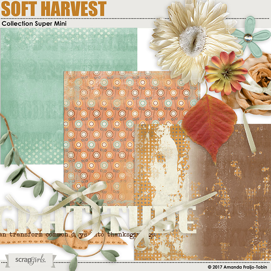 Soft Harvest Super Mini Digital Scrapbooking Kit by AFT Designs - Amanda Fraijo-Tobin @ScrapGirls.com | #aftdeisgns #fall #scrapgirls