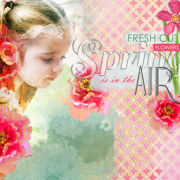 "Digital Scrapbooking Layout ""Spring Is In The Air"" by Amanda Fraijo-Tobin (see supply list with links below)"
