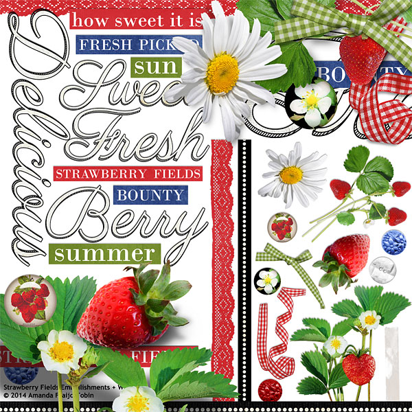 Embellishments and Word Art Included in Strawberry Fields Collection