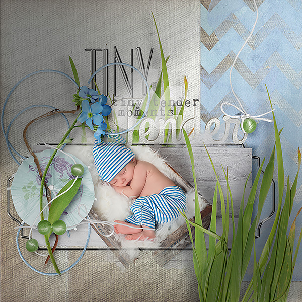 Tiny Tender Moments Spring Newborn digital scrapbooking layout by Amanda Fraijo-Tobin