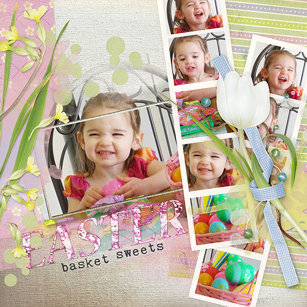 Easter Basket Sweets layout by Amanda Fraijo-Tobin using Tender Spring Kit
