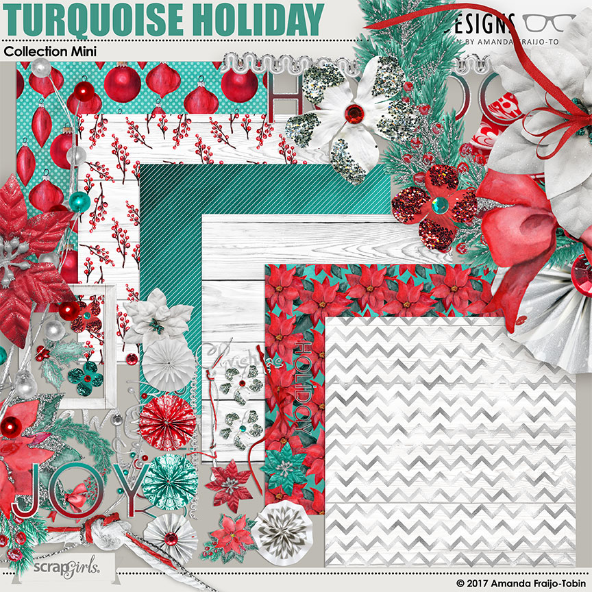 Turquoise Holiday Collection Mini by AFT Designs - Amanda Fraijo-Tobin @ScrapGirls.com | #aftdesigns #scrapbooking #scrapbook