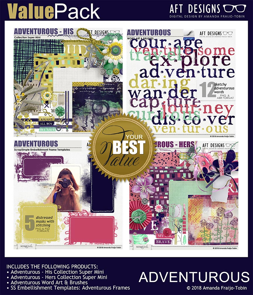 Value Pack: Adventurous by Amanda Fraijo-Tobin - AFT Designs @ScrapGirls.com