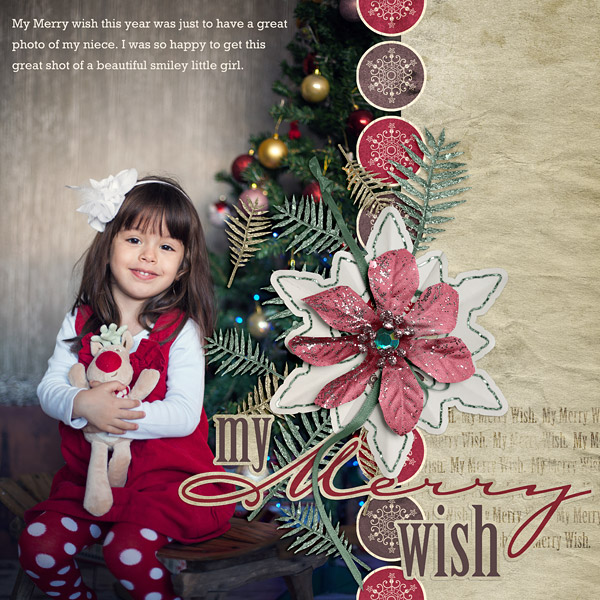 """My Merry Wish"" layout by Amanda Fraijo-Tobin uses the My Merry Wish holiday Value Pack"