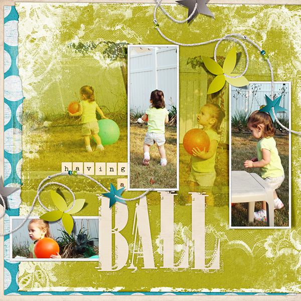 "Digital Scrapbooking Layout ""Having A Ball"" by Amanda Fraijo-Tobin (see supply list with links below)"