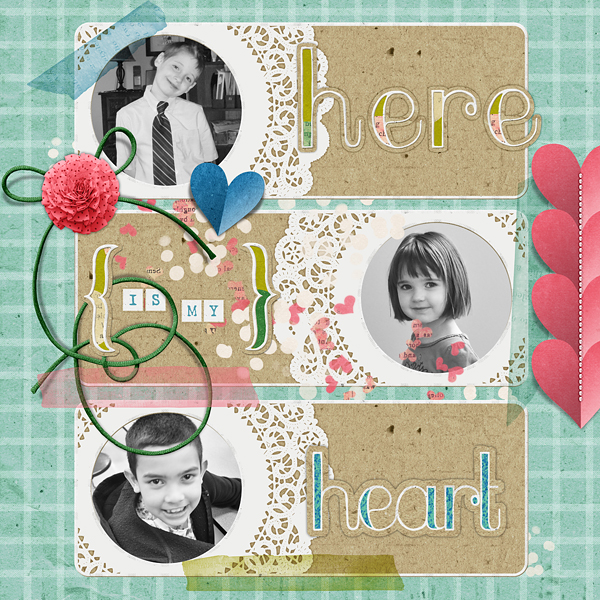"Digital Scrapbooking Layout ""Here Is My Heart"" by Amanda Fraijo-Tobin (see supply list with links below)"