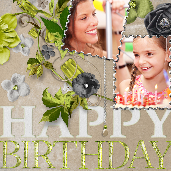 "Digital Scrapbooking Layout ""Happy Birthday"" by Amanda Fraijo-Tobin (see supply list with links below)"