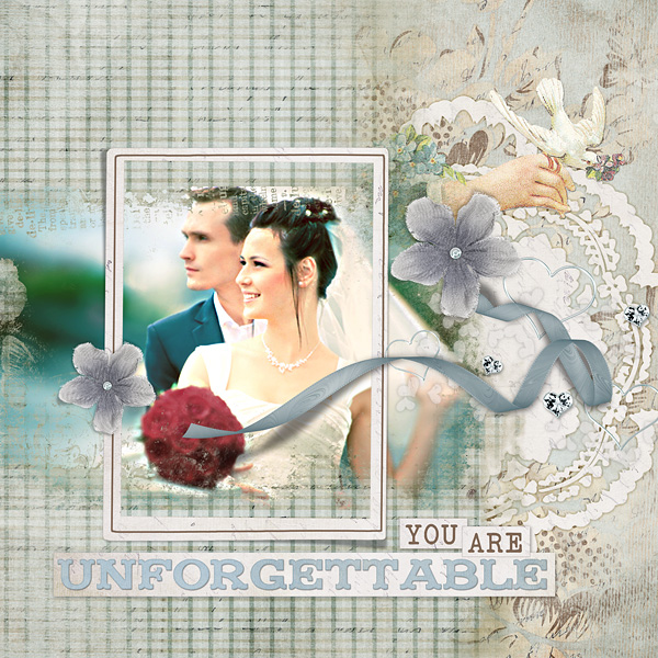 """Digital Scrapbooking Layout """"You Are Unforgettable"""" by Amanda Fraijo-Tobin (see supply list with links below)"""