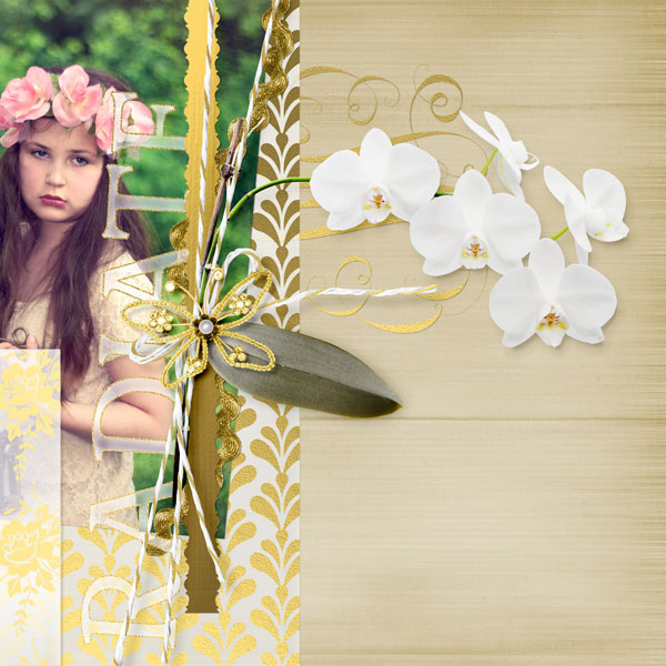 """Radiant"" vellum and gold digital scrapbooking layout by Amanda Fraijo-Tobin"