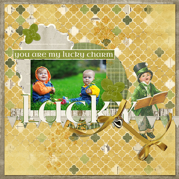 "Digital Scrapbooking Layout ""You Are My Lucky Charm"" by Amanda Fraijo-Tobin using Vintage St. Patty's Day Collection Mini"