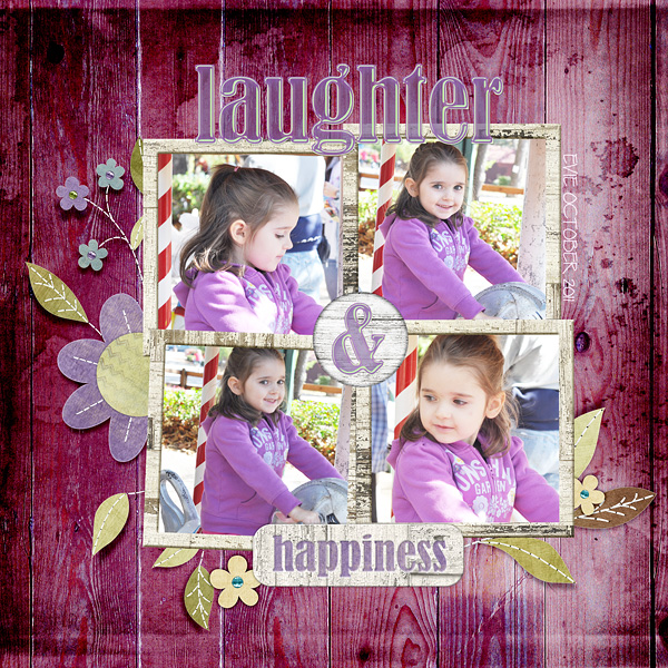 "Digital Scrapbooking Layout ""Laughter & Happiness"" by Amanda Fraijo-Tobin (see supply list with links below)"