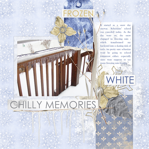 "Digital Scrapbooking Layout ""Chilly Memories"" by Amanda Fraijo-Tobin uses Winter Fantasy Collection Mini"